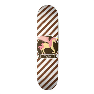 Pink & Yellow Fantasy Unicorn; Brown White Stripes Skateboard Decks