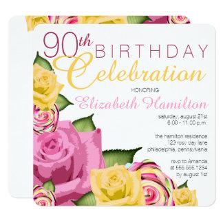 Pink | Yellow Floral 90th Birthday Celebration 13 Cm X 13 Cm Square Invitation Card