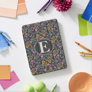 Pink Yellow Floral Blue Monogram iPad Pro Cover