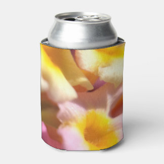 Pink yellow floral can cooler