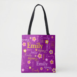 Pink yellow flower custom name Emily tote bag