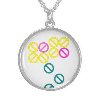 Pink Yellow Flower Pattern Round Necklace