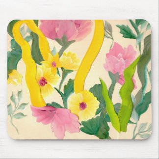 Pink & yellow flower show mouse pad