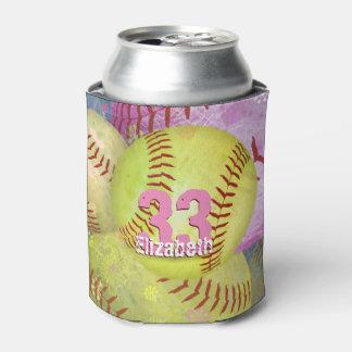 Pink Yellow Girls Softball Can Cooler