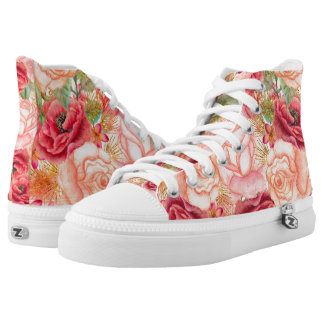 Pink Yellow Gold Flowers High Tops