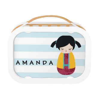 PINK YELLOW Kokeshi Doll Cute Japanese Geisha Lunch Box