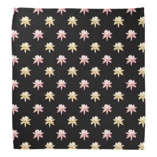 Pink Yellow Lily Lotus Flower Pattern Bandana