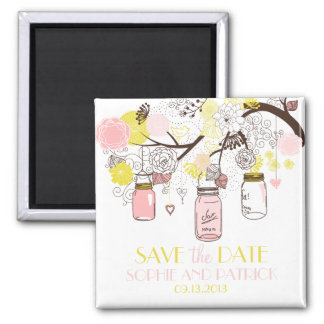 Pink & Yellow Mason Jars Cute Save the Date Magnet