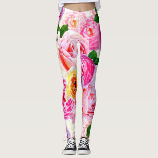 Pink ,Yellow mixed Roses  Leggings