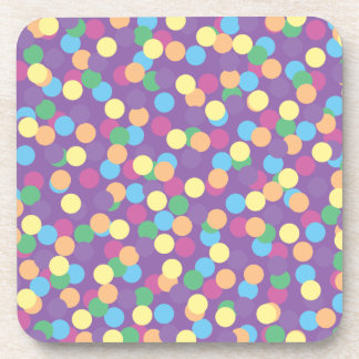 Pink Yellow Orange Green Blue & Purple Polka-Dots Coasters
