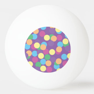 Pink Yellow Orange Green Blue & Purple Polka-Dots Ping Pong Ball