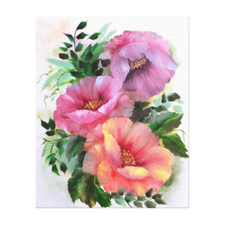 Pink yellow orange poppies florals canvas print