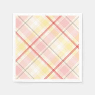 Pink & Yellow Plaid Stripe Argyle Wedding Party Paper Napkin