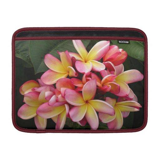 Pink & Yellow Plumeria Flowers Mac Book Air Sleeve MacBook Sleeves