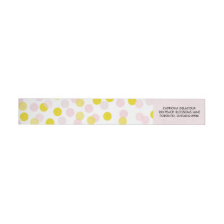 Pink & Yellow Polka Dots Confetti Pattern Wrap Around Label