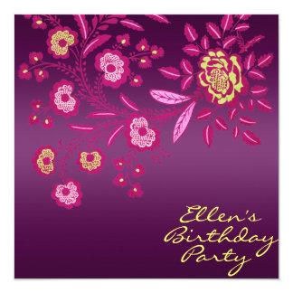 Pink/Yellow & Purple flower Birthday Invite