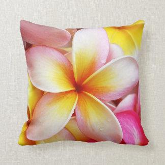 Pink Yellow Purple Plumeria Frangipani Flowers Throw Pillow
