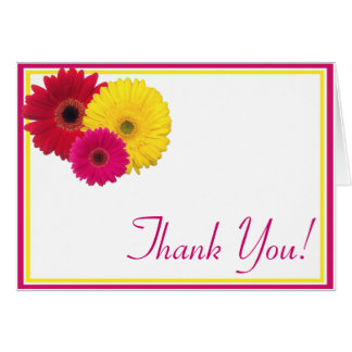 Pink Yellow Red Gerbera Daisy Thank You Card