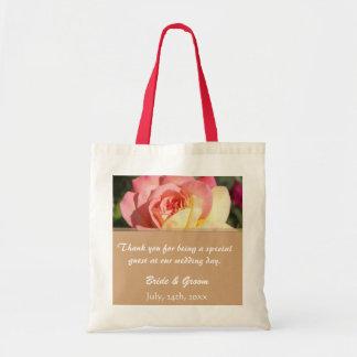 Pink & yellow rose flower wedding favor thank you