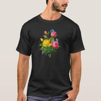 Pink & Yellow Rose w/Blue Butterflies by Redoute T-Shirt