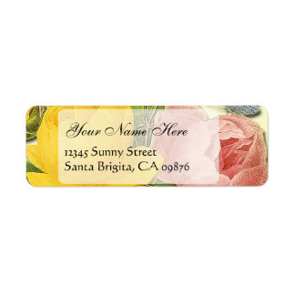 Pink Yellow Roses Custom Return Address Labels
