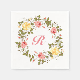 Pink & Yellow Roses Monogram Initial Disposable Napkin