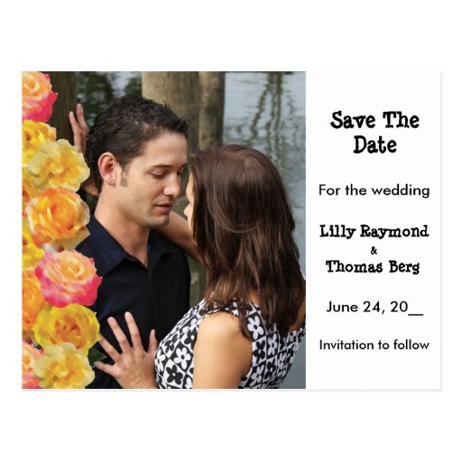 Pink & Yellow Roses Save The date Post Card
