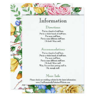 Pink Yellow Roses Wedding Information Details Card