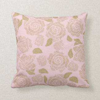 Pink Yellow Shine Roses Flowers Pillow