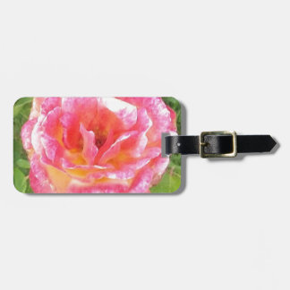 Pink & Yellow Spotted Rose Luggage Tag