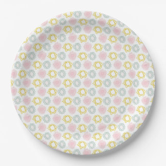 Pink & Yellow Spring Pastel Flowers Paper Plate