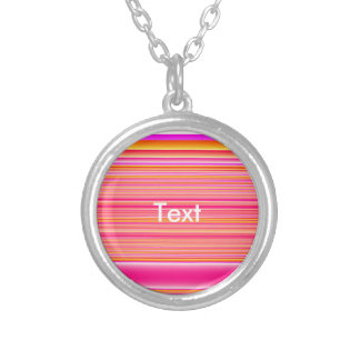Pink Yellow Stripes Round Pendant Necklace