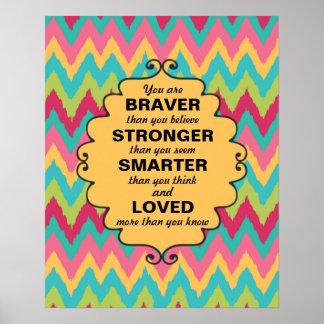 Pink Yellow Teal Green Chevron Encouragement Poster