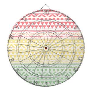 Pink Yellow Watercolor Aztec Tribal Print Pattern Dartboard