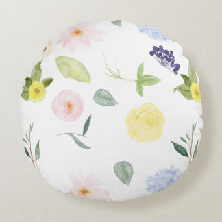Pink Yellow Watercolor Floral Round Cushion