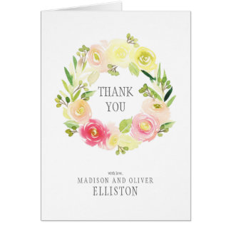 Pink & Yellow Watercolor Floral Wreath | Thank You Card