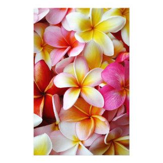 Pink Yellow  White Mixed Plumeria Flower Stationery