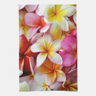 Pink Yellow  White Mixed Plumeria Flower Tea Towel