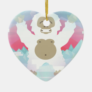 pink yeti ceramic heart decoration