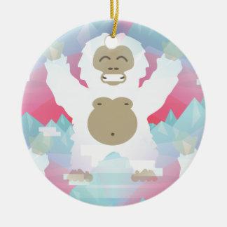 pink yeti round ceramic decoration