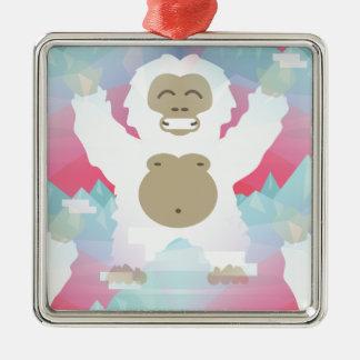 pink yeti Silver-Colored square decoration