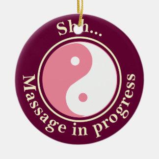 Pink Yin Yang Massage Door Sign Round Ceramic Decoration