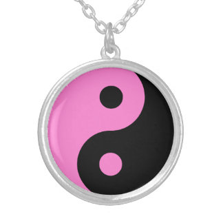 Pink Yin Yang Symbol Silver Plated Necklace