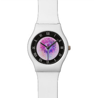 Pink Yoga Tree Woman in Pastel Colors Wristwatches