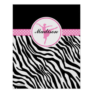 Pink Your Name Zebra Print Ballet Dancer