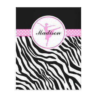 Pink Your Name Zebra Print Ballet Dancer Gallery Wrap Canvas