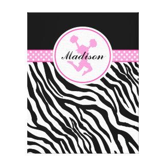 Pink Your Name Zebra Print Cheerleader / Pom Canvas Print