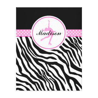 Pink Your Name Zebra Print Figure Skating Stretched Canvas Prints