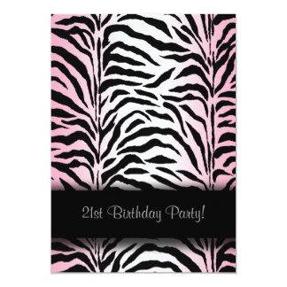 Pink Zebra 21st Birthday Party Invitations