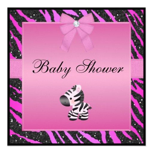 pink zebra animal print faux glitter baby shower 13 cm x 13 cm